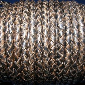 Fonott bőrszíj - 5 mm (10. minta/0,5 m) - antik fekete, Egyéb alapanyag,  Fonott bőrszíj (10. minta) - antik feketeValódi bőr alapanyagból készült fonott, hengeres szíj.Átmé..., Meska