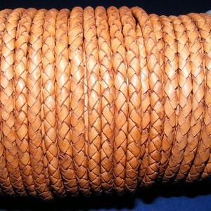 Fonott bőrszíj - 5 mm (7. minta/0,5 m) - natúr (antik), Egyéb alapanyag, Bőrművesség, \nFonott bőrszíj (7. minta) - natúr - antikValódi bőr alapanyagból készült fonott, hengeres szíj.Átmé..., Meska