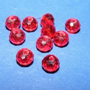 Csiszolt üveggyöngy-4 (4x6 mm/10 db) - piros (csimbo) - Meska.hu