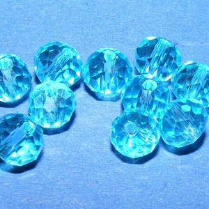 Csiszolt üveggyöngy-16 (4x6 mm/10 db) - aquamarine, Gyöngy, ékszerkellék, Gyöngy, \nCsiszolt üveggyöngy-16 - aquamarine\n\nMérete: 4x6 mmFurat: 1 mm\n\nKiszerelés: 10 db/csomag\nAz ár egy ..., Meska