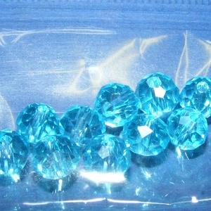 Csiszolt üveggyöngy-16 (4x6 mm/10 db) - aquamarine (csimbo) - Meska.hu
