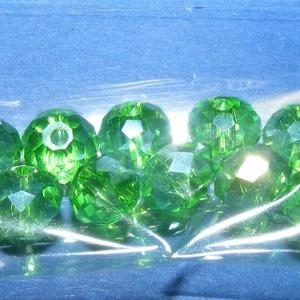 Csiszolt üveggyöngy-26 (4x6 mm/10 db) - zöld (csimbo) - Meska.hu