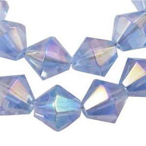 Csiszolt üveggyöngy-49 (6x6 mm/15 db) - világoskék gyémánt, Gyöngy, ékszerkellék,  Csiszolt üveggyöngy-49 - világoskék gyémánt  Mérete: 6x6 mmFurat: 1 mm  Kiszerelés: 15 db/csomag Az..., Meska
