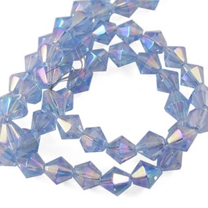 Csiszolt üveggyöngy-49 (6x6 mm/15 db) - világoskék gyémánt - Meska.hu