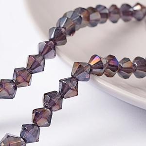 Csiszolt üveggyöngy-50 (6x6 mm/15 db) - irizáló lila gyémánt (csimbo) - Meska.hu