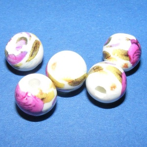 Porcelángyöngy-8 (Ø 10 mm/5 db) (csimbo) - Meska.hu