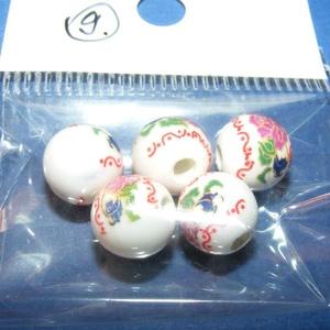 Porcelángyöngy-9 (Ø 10 mm/5 db), Gyöngy, ékszerkellék,  Porcelángyöngy-9 - fehér-lila virág mintás  Mérete: Ø 10 mmFurat: 3 mm  A csomag tartalma: 5 db por..., Meska