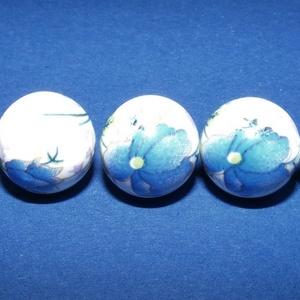 Porcelángyöngy-10 (Ø 12 mm/5 db), Gyöngy, ékszerkellék,  Porcelángyöngy-10 - fehér-kék virág mintás  Mérete: Ø 12 mmFurat: 3 mm  A csomag tartalma: 5 db por..., Meska