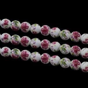 Porcelángyöngy-11 (Ø 12 mm/5 db), Gyöngy, ékszerkellék,  Porcelángyöngy-110 - fehér-mélyva virág mintás  Mérete: Ø 12 mmFurat: 3 mm  A csomag tartalma: 5 db..., Meska