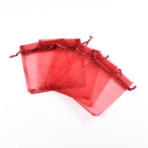 Organzatasak (10x12 cm/1 db) - vörös, Textil,  Organzatasak (10x12 cm/1 db) - vörös  Organza szövetből készült anyag, jó tartású csomagolóanyag ki..., Meska