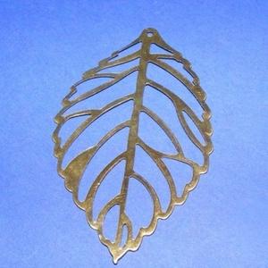Fülbevaló/medál alap (286. minta/1 db) - levél, Gyöngy, ékszerkellék,  Fülbevaló/medál alap (286. minta) - levél - antik bronz színben  Mérete: 54x31 mm  Az ár egy darab ..., Meska