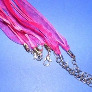 Organza nyaklánc alap (3. minta/1 db) - ciklámen, Gyöngy, ékszerkellék, Ékszerkészítés, \nOrganza nyaklánc alap (3. minta) - ciklámenNyaklánc alap szerelt: nikkel színű kapoccsal és lánchos..., Meska