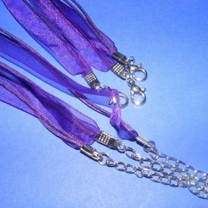 Organza nyaklánc alap (4. minta/1 db) - lila, Gyöngy, ékszerkellék, Ékszerkészítés, \nOrganza nyaklánc alap (4. minta) - lilaNyaklánc alap szerelt: nikkel színű kapoccsal és lánchosszab..., Meska