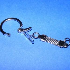 Kulcstartó (465. minta/1 db) - fonott lánccal , Csat, karika, zár, Mindenmás, \nKulcstartó fonott lánccal (465. minta) - nikkel színben\n\nMérete: 60 mm (lánc és karika együtt)\n\nAz ..., Meska