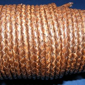 Fonott bőrszíj - 4 mm (2. minta/0,5 m) - antik sötétbarna, Egyéb alapanyag,  Fonott bőrszíj (2. minta) - antik sötétbarnaValódi bőr alapanyagból készült fonott, hengeres szíj.Á..., Meska
