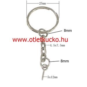 Kulcskarika lánccal (462/B minta/1 db) - 25 mm, Csat, karika, zár, Mindenmás, \nLáncos kulcskarika (462/B minta) - nikkel színben\n\nMérete: kulcskarika: 25 mm; lánc: 25 mm; kis kar..., Meska