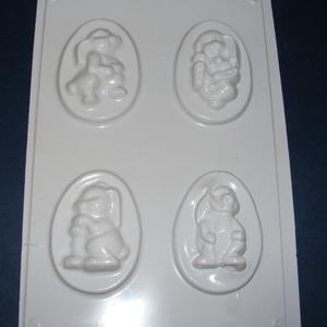 Húsvét-16 - húsvéti gipszöntő forma (4 motívum) - nyuszik, Egyéb szerszám, eszköz, Gipszöntés, \nHúsvét-16 - húsvéti gipszöntő forma \n\n4 motívum: 4 féle nyuszi\n\nMérete: - sablon: 18x29 cm- minták:..., Meska