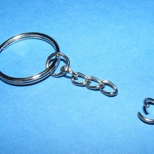 Kulcskarika lánccal (469. minta/1 db) - 25 mm , Csat, karika, zár, Mindenmás, \nKulcskarika lánccal (469. minta) - nikkel színben\n\nMéretei: Kulcskarika: 25 mmA kis karikák mérete:..., Meska