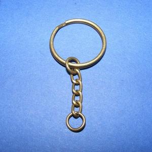 Kulcskarika lánccal (469/AB minta/1 db) - 25 mm , Csat, karika, zár, Mindenmás, \nKulcskarika lánccal (469/AB minta) - bronz színben\n\nMéretei: Kulcskarika: 25 mmLánc: 22 mmKis karik..., Meska