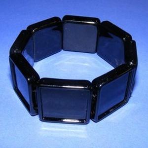 Műanyag karkötő alap (1. minta/1 db) - fekete négyzet (20x20 mm) - Meska.hu