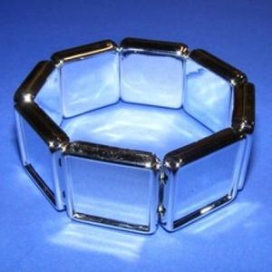 Műanyag karkötő alap (2. minta/1 db) - ezüst négyzet (20x20 mm) - Meska.hu