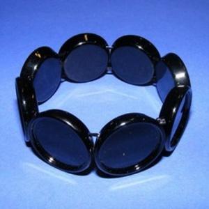 Műanyag karkötő alap (3. minta/1 db) - fekete kerek (Ø 20 mm), Gyöngy, ékszerkellék,  Műanyag karkötő alap (3. minta) - kerek - fekete színben  A kör lapocskák mérete: 24x5 mm A belső ..., Meska