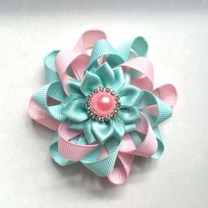Menta és rózsaszín virágos hajcsat szalagból , Táska, Divat & Szépség, Hajbavaló, Ruha, divat, Hajcsat, Varrás, Ékszerkészítés, Ezt az aranyos virágos hajbavalót szalagból készítettem, 4,5 cm-es aligátor hajcsatra helyeztem el. ..., Meska