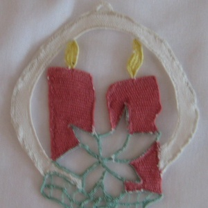 Karácsonyi dísz varrott csipkéből, Ruha & Divat, Csipkekészítés, Varrás, Karácsonyi dísz, varrott csipkéből.\n8*75 cm\nFelhasználható fára, ruhára dísznek., Meska