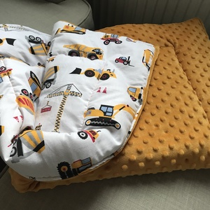 Sárga traktoros minky baba és kisgyermek takaró, Otthon & Lakás, Lakástextil, Takaró, Varrás, Újszülött kortól használható vastag, bélelt baba és kisgyermek takaró. Ősztől kora tavaszig ideális...., Meska