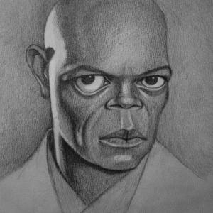 Sámuel, Karikatúra, Portré & Karikatúra, Művészet, Fotó, grafika, rajz, illusztráció, Samuel L Jacksonról készült karikatúra.\nA/4-esben készült, művész papírra, grafittal.\nHa szeretnél r..., Meska