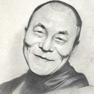 Portré, karikatúra ajándékba, Portré, Portré & Karikatúra, Művészet, Fotó, grafika, rajz, illusztráció, Dalai Lámáról készült portré.\nA/3-as, művész papírra, grafittal.\nHa szeretnél ehhez hasonló portrét ..., Meska