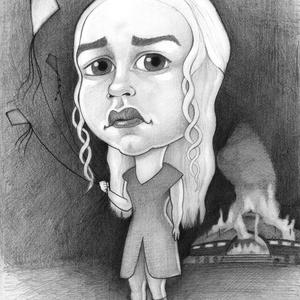 A sárkányok anyja, Karikatúra, Portré & Karikatúra, Művészet, Fotó, grafika, rajz, illusztráció, Daenerys a Trónok harca című sorozat egyik legnépszerűbb karaktere.\nHa szeretnél ilyen, vagy ehhez h..., Meska