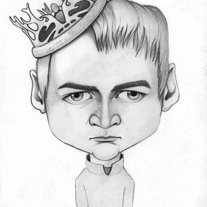 Joffrey Baratheon, Karikatúra, Portré & Karikatúra, Művészet, Fotó, grafika, rajz, illusztráció, Karikatúra az ifjú utódról a Trónok harca sorozatból.\n\nPortért vagy karikatúrát szeretnél ajándékozn..., Meska