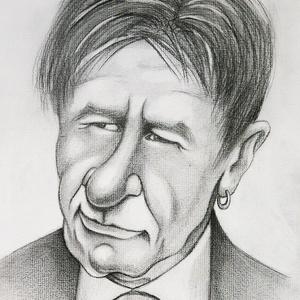Harrison Ford Budapesten, Karikatúra, Portré & Karikatúra, Művészet, Fotó, grafika, rajz, illusztráció, Manapság nem nehéz összefutni a híres színésszel, még ide a Meskára is felnézett.\nHa te is szeretnél..., Meska