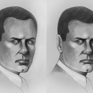 Jockey Ewing két arca, Portré, Portré & Karikatúra, Művészet, Fotó, grafika, rajz, illusztráció, Mindenki kedvenc gonosz karaktere, a jó öreg Jockey Ewing. Ám neki is volt egy másik arca, egy jobbi..., Meska