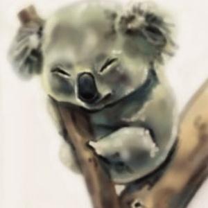 Koala festmény, Képzőművészet, Otthon & lakás, Festmény, Festmény vegyes technika, Illusztráció, Fotó, grafika, rajz, illusztráció, Festészet, Digitális festmény nem kizárólag ajándékba.\nCsak a képzelet szab határt, fekete fehérben és  színesb..., Meska