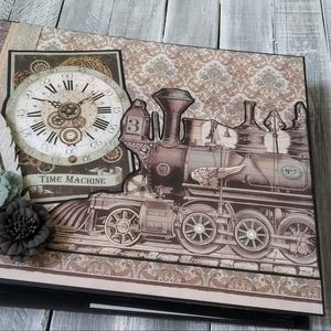 KÉSZLETEN - Time machine (Időgép) - Scrapbook album/ fotóalbum, Otthon & Lakás, Papír írószer, Album & Fotóalbum, Papírművészet, Ezt a scrapbook fényképalbumot a vintage/ régi idők hangulata ihlette. Jó ajándék lehet bármilyen al..., Meska