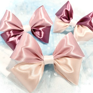 ,Big Pink Bows' - Masnis Hajgumi Szett (3db/cs), Ruha & Divat, Hajdísz & Hajcsat, Hajgumi, Varrás, Nagy méretű szatén masnikkal díszített szettet készítettem Nektek ezúttal a rózsaszín árnyalataiban...., Meska