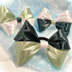 ,Big Green Bows' - Hajgumi Szett (3db/cs), Ruha & Divat, Hajdísz & Hajcsat, Hajgumi, Varrás, Big Bows sorozatom harmadik variációja is megszületett a zöld árnyalataival :) Kék és rózsaszín szet..., Meska