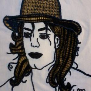 Michael Jackson riseliő kép, Otthon & lakás, Dekoráció, Kép, Csipkekészítés, Hímzés, Fehér sifon anyagra cérnával riseliőztem ezt a képet. Hagyományos technikával dolgoztam.\nA képet az ..., Meska
