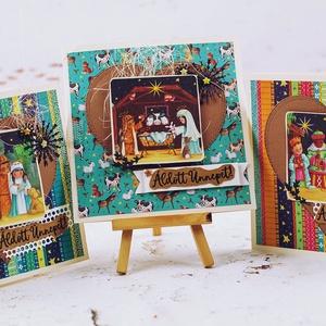 Karácsonyi képeslap csomag, Otthon & Lakás, Karácsony & Mikulás, Karácsonyi képeslap, Papírművészet, Egyedi, kézzel készült képeslap.\nDomborított,csiszolt, minőségi papírokkal díszítve, kézzel és szere..., Meska