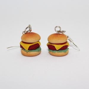 Bűntudatmentes sajtburger fülbevaló, Ékszer, Fülbevaló, Gyurma, Ékszerkészítés, A bűnös élvezetek sorozat ékszerei folytatódnak, most egy finom kis sajtburgert készítettem el. \n\nA ..., Meska