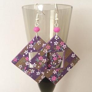 Origami virágok négyzete fülbevaló (cvzs) - Meska.hu