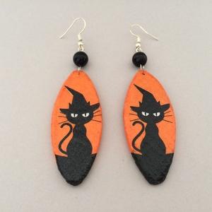 Fekete macskás fülbevaló - Meska.hu