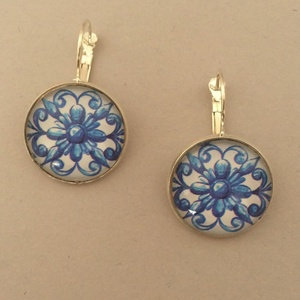 Azori azulejo No.6 francia kapcsos fülbevaló, Ékszer, Lógó fülbevaló, Fülbevaló, Ékszerkészítés, Meska