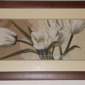 Fehér tulipán, gobelinkép keretezve, Művészet, Textil, Gobelin, Hímzés, Gobelin kép, keretezve:\n68x34 cm. \nFehér virágos gobelin képek, tulipán és kála.\nPárban nagyon mutat..., Meska