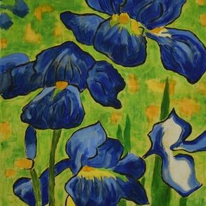 Van Gogh íriszei, Otthon & lakás, Dekoráció, Kép, Képzőművészet, Festmény, Akril, Festészet, Fotó, grafika, rajz, illusztráció, Vincent van Gogh Íriszek festményének egy részlete újrafestve. \nMérete: 40x50 cm \nKeretezés nem szük..., Meska