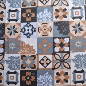 Mediterrán csempe mintás normál méretű vászontáska rövid fekete pánttal (Damianmode) - Meska.hu