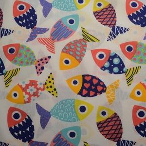 Színes halak mintás normál méretű vászontáska rövid fekete pánttal - Meska.hu