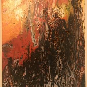 A tűz színei - Fluid art kép, Otthon & lakás, Képzőművészet, Festmény, Akril, Lakberendezés, Falikép, Festészet, 24x30 cm -es, feszített vászon kép, akril festékkel. \n\nGarantáltan egyedi, és megismételhetetlen. \n\n..., Meska